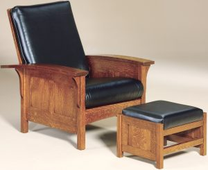 Bow Arm Panel Morris Chair and Footstool