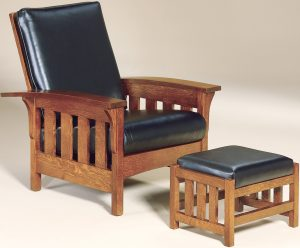 Bow Arm Slat Morris Chair with Footstool