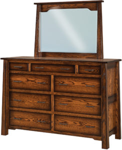 Cambridge 9 Drawer Mule Dresser and Mirror
