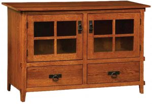 Deluxe Mission Two Door Plasma TV Cabinet with Drawers