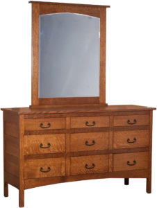 Granny Mission Nine Drawer Dresser with Square Mirror