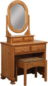 Heritage Style Dressing Table with Wooden Bench