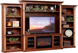 Jefferson Entertainment Center with Fireplace and Bookcases