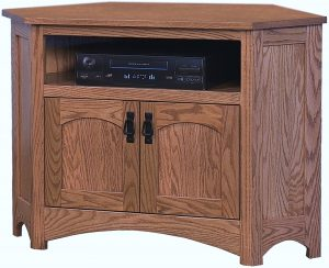 Mission Corner TV Stand with Opening