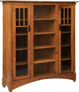 Mission Display Bookcase with Seedy Glass