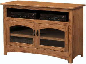 Mission Two Arched Glass Doors TV Stand