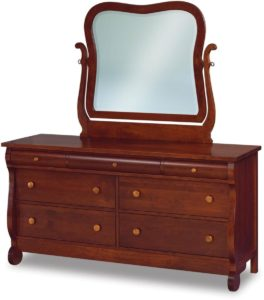 Old Classic Sleigh Dresser with Swinging Mirror
