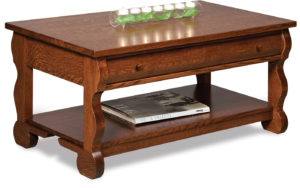 Old Classic Sleigh Open Coffee Table with Drawer