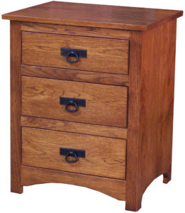 Shaker Hickory Three Drawer Nightstand
