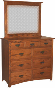 Shaker Nine Drawer Mule Dresser with Mirror