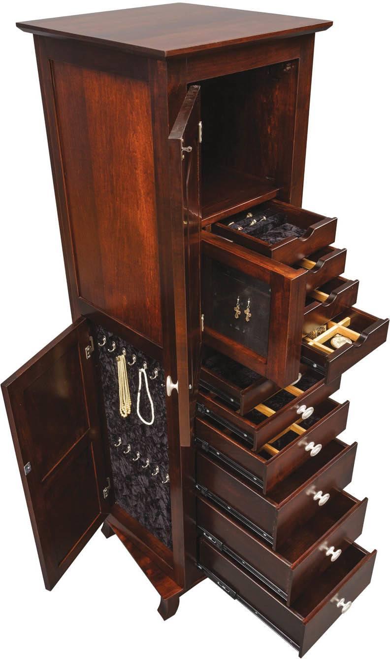 Revolving Shaker Mirrored Jewelry Armoire | Amish ...