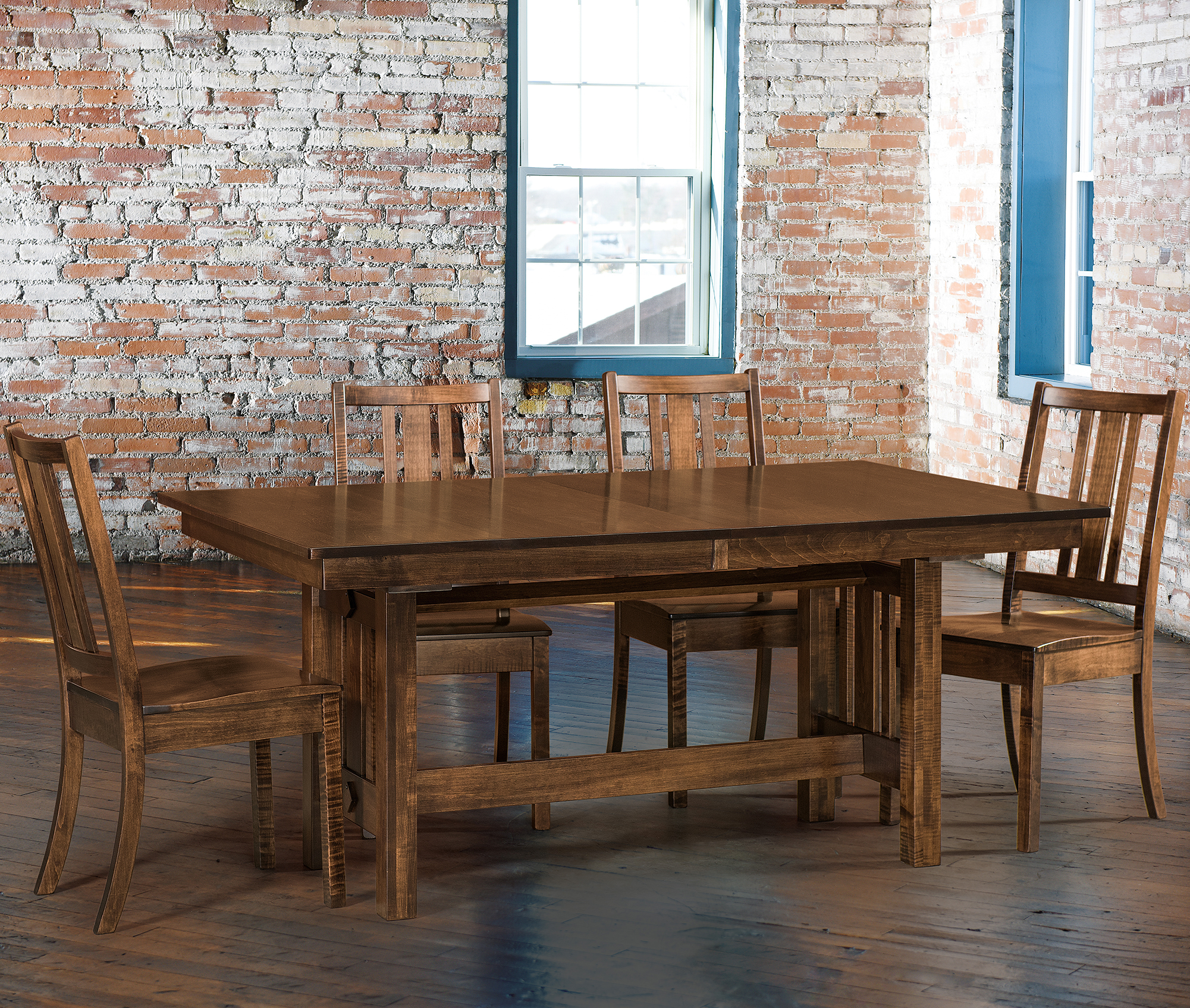 Trestle Table Amish Dining Room: Eco Trestle Table Dining Room Set