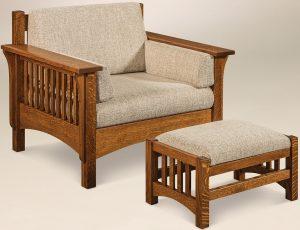 Pioneer Slat Chair and Footstool