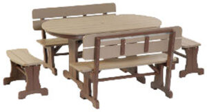Poly Oval Patio Table Set