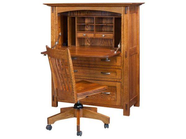 Amish Modesto Secretary Desk with matching Silverline chair