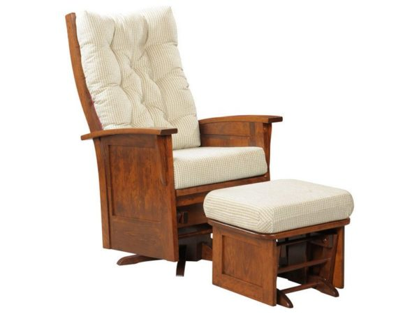 Amish Finley Deluxe Miss Panel Swivel Glider and Ottoman