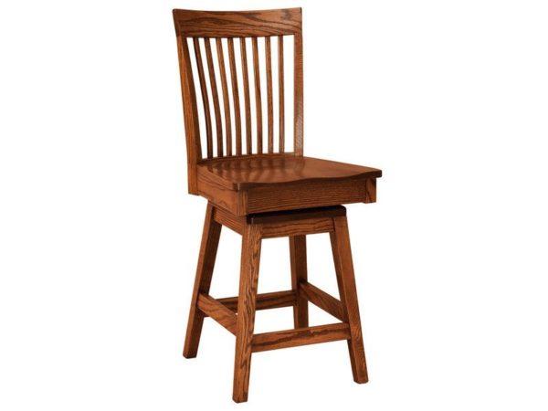 Amish Shelby Hardwood Swivel Bar Stool
