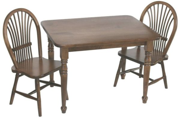 Brown Maple Child's Table Set with Two Sheaf Chairs