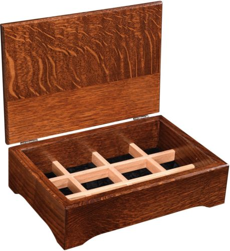Amish 12 inch Quarter Sawn White Oak Jewelry Box Open