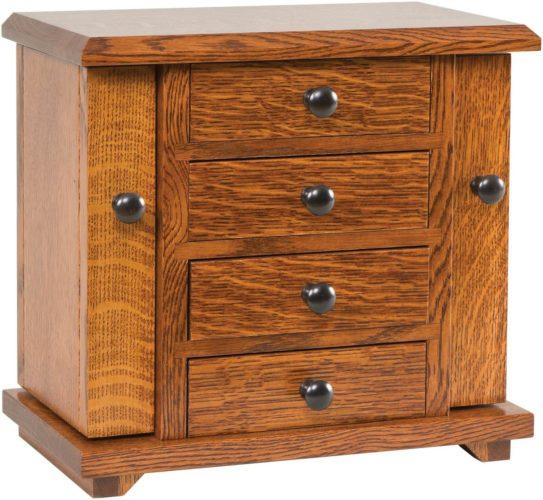Amish 13 inch Dresser Top Jewelry Cabinet Quarter Sawn White Oak