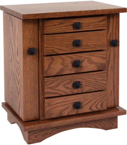 Amish 20 inch Winged Mission Dresser Top Jewelry Cabinet Oak