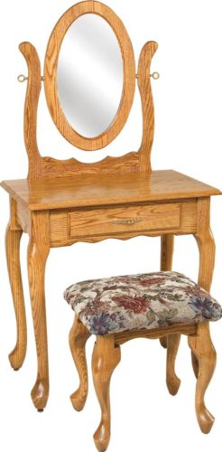 Amish 29 1/2 inch Queen Anne Dressing Table Oak