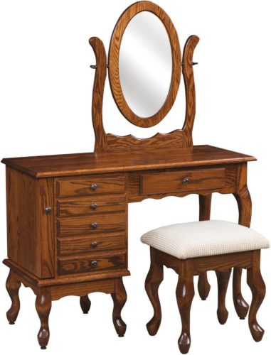 Amish 42 inch Queen Anne Jewelry Dressing Table Oak