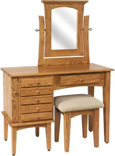 Amish 42 inch Shaker Jewelry Dressing Table Oak