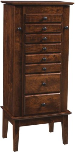 Amish 48 inch Winged Mill Shaker Jewelry Armoire Rustic Cherry