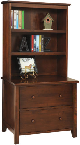 Amish Manhattan Lateral File with Bookshelf