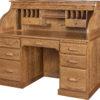 56 Inch Solid Oak Roll Top Desk