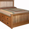 Slat Mission Storage Bed with 12 Drawers