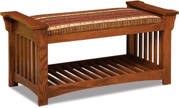 Amish Mission Slat Bench Open