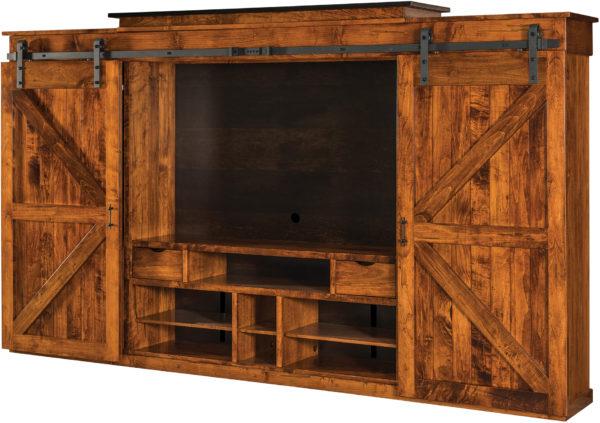 Amish Teton Barn Door Wall TV Unit
