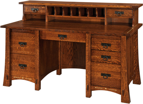 Amish Morgan Pencil Desk With Topper