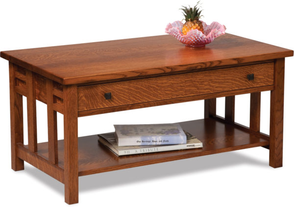 Amish Kascade Open Coffee Table with Drawer
