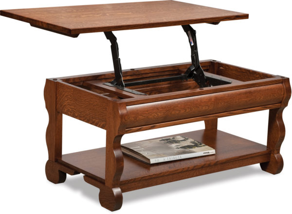 Amish Old Classic Sleigh Coffee Table with Lift Top