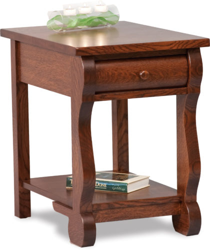 Amish Old Classic Sleigh Open End Table with Drawer
