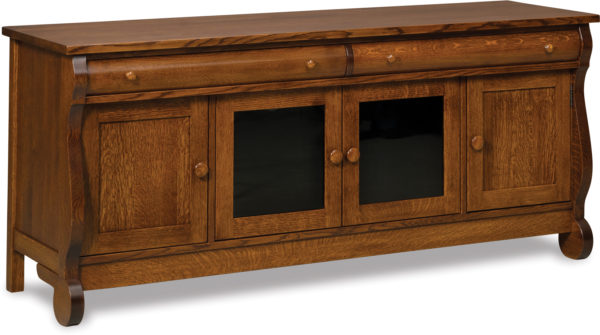 Amish Old Classic Sleigh Four Door TV Stand