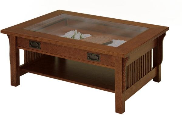Amish Landmark Glass-Top Coffee Table