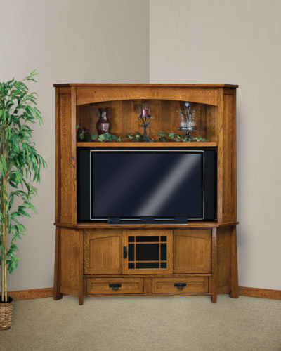 Amish Modesto Three Door Corner LCD Hutch