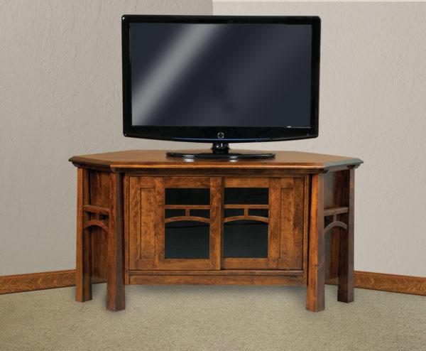 Amish Artesa Two Door Corner TV Stand