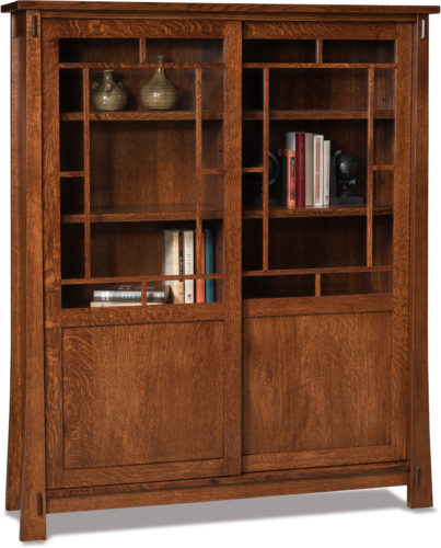 Amish Modesto Sliding Door Bookcase