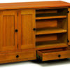 Amish McCoy Wood Leaf Storage Cabinet Open
