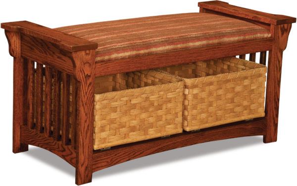 Custom Amish Mission Slat Bench With Baskets