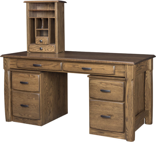 Amish Kumberlin Library Desk with Pedestals and Tower
