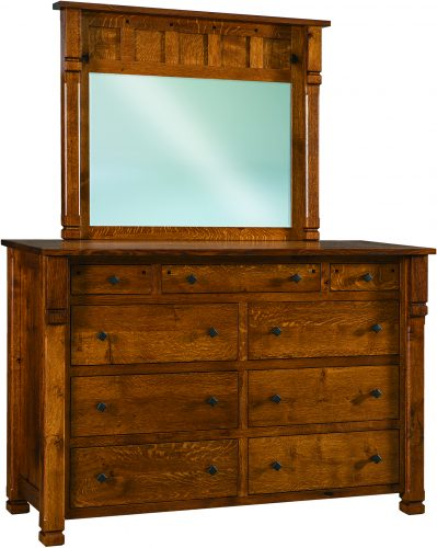 Amish Brockport 9 Drawer Mule Dresser