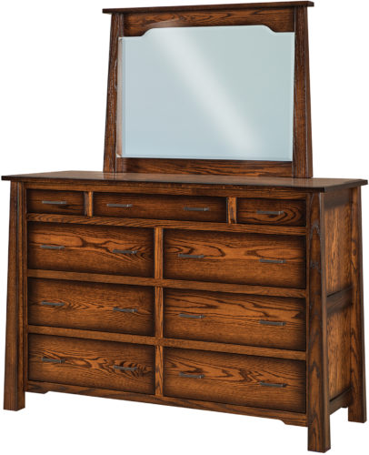 Amish Cambridge 9 Drawer Mule Dresser and Mirror