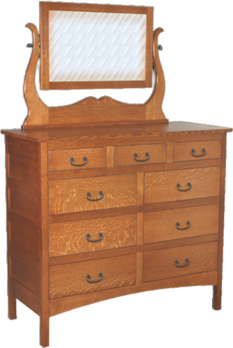 Amish Granny Mission 9 Drawer Mule Dresser with Mirror