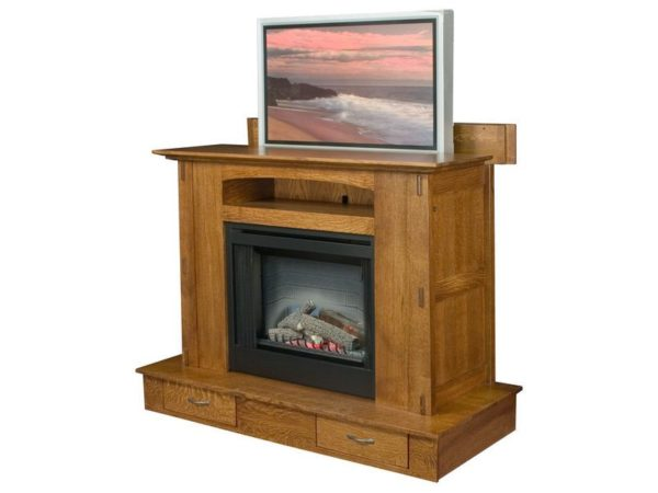 Amish Modesto Fireplace with Mantle Lift for Plasma TV